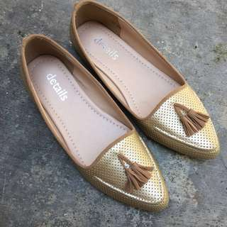 Gold Loafer Shoes