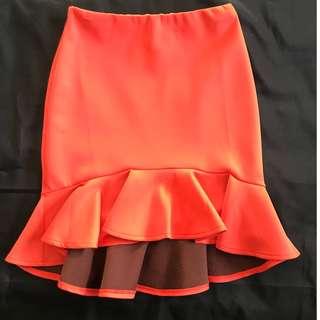 ASOS Scuba Peplum Hem Skirt Orange