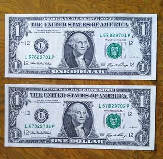 美元$1 兩張連号
