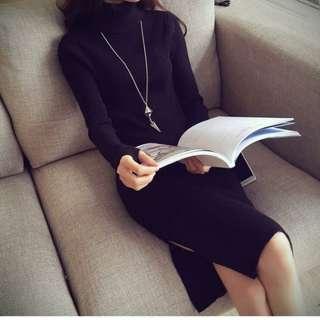 ◇悠莎◇ 新品百搭高領修身針織連身裙 三色 559892603911180516
