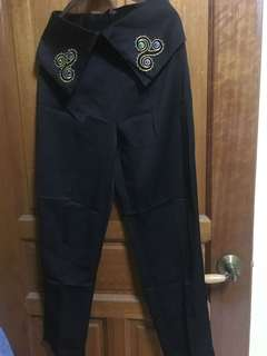 Black Straight Cut Pants with Embroidery