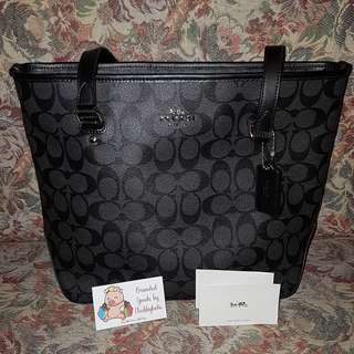 Coach Zip Tote in Smoke black color