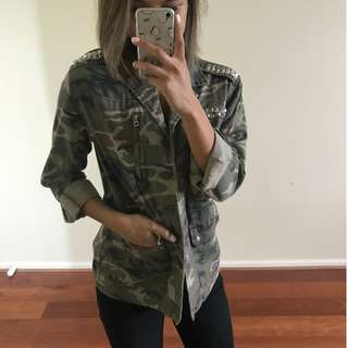 TOPSHOP Camo Jacket with Studs