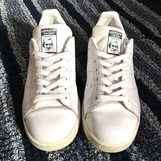 🚚 Adidas stan smith 深藍白皮革復古鞋