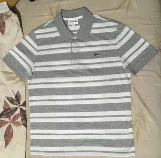 Lacoste Striped Grey and White Cotton Shirt (L, slim fit)