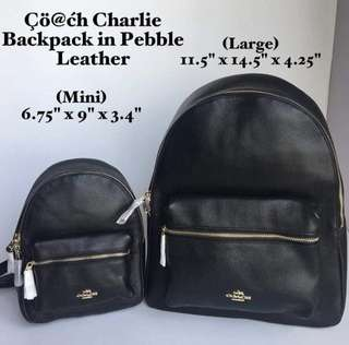 Coach Charlie Backpack in Pebble Leather