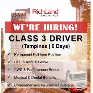 Class 3 Driver (Tampines | 6 Days | AWS Bonus)