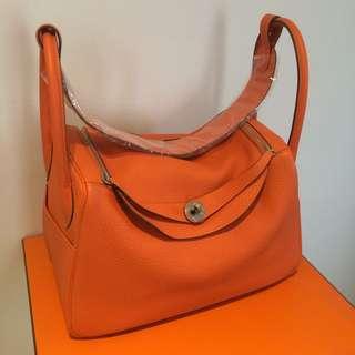 New Hermes Lindy 34 Clemence Orange Hand Bag