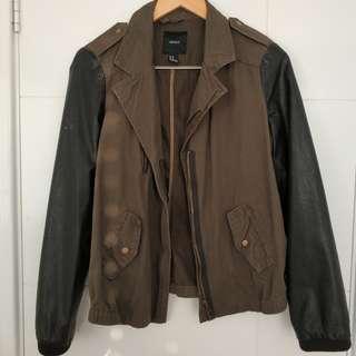 Forever 21 Khaki and leather moto jacket size M