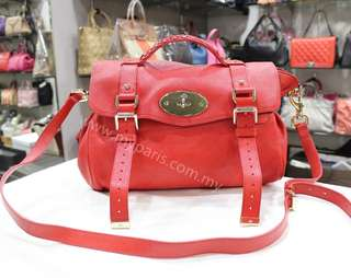 Mulberry Red Alexa Shrunken Leather Satchel