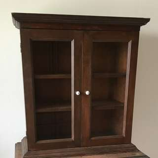 Vintage British Colonial Solid Wood Table-top Display Cabinet