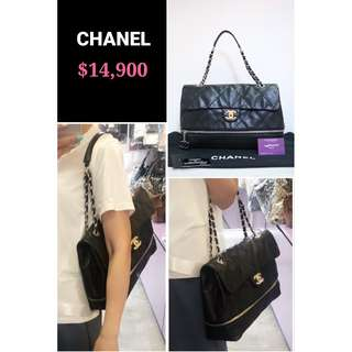 95% New CHANEL 黑色 牛皮 拉鏈 CC Logo 銀鏈 手提袋 肩背袋 手袋 Expandable Ligne Quilted Zipper Black Calfskin CC Logo Flap Bag with Silver Hardware