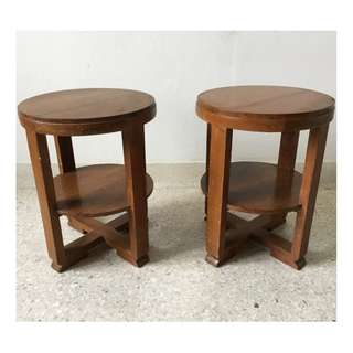 Vintage 1940's Art Deco Burmese Teak Wood Side Tables