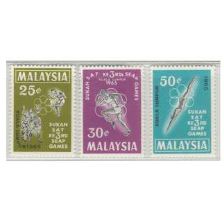 Malaysia 1965 3rd South East Asian Peninsular Games SG#28-30 MLH