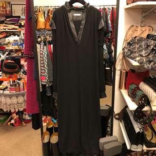 長身裙 Celine black silk with leather long dress size 36