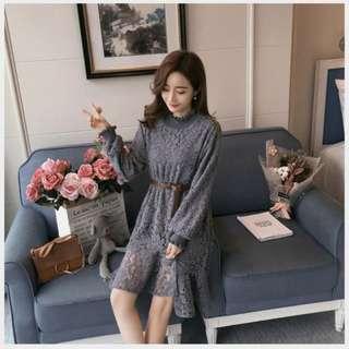◇悠莎◇ 新品荷葉邊加絨蕾絲長袖洋裝 562835108578180516