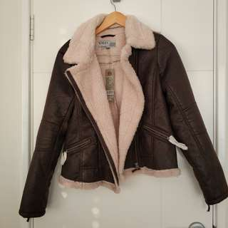 Rivers leather fur jacket