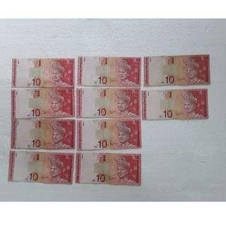 Malaysia RM10 BANKNOTE ZETI 10PCS