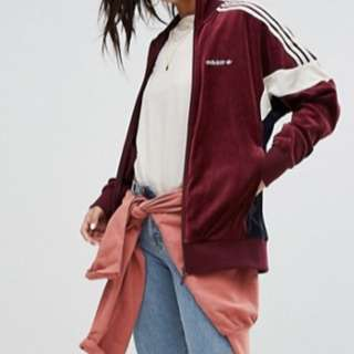 Adidas originals burgundy red velour tracksuit top jacket