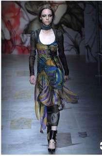 Prada silk dark green dress size 36