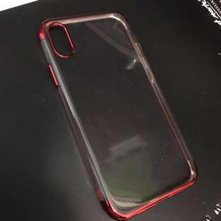 iphone X/ iphone 10 clear case, metallic red outline