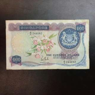 Singapore $100 Orchid Series Note A/2 Lks