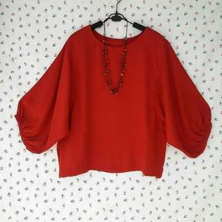 ATASAN/BLOUSE WOLLYCREPE RED