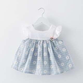 Instock - blue floral dress, baby infant toddler girl children sweet kid happy abcdeghijkmnop