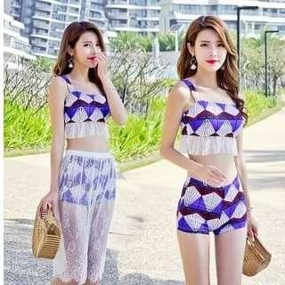 💖夏季海灘流蘇泳衣套裝三件式💖$590 💖性感帶有夏威夷風采,💖顯得性感亮麗,多加了若隱若顯白沙裙美感,是美女們最佳的選擇💖 💖尺寸 :M. L. XL. XXL💖 💖顏色 :藍色,紅色,黃色💖