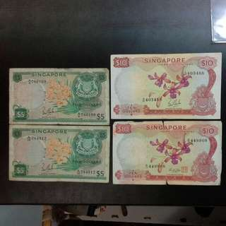 4 Singapore Orchid $5 $10 Notes