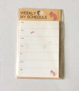 Weekly schedule planner post-it pads
