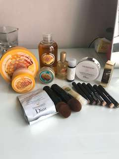 Body shop, Laura mercier, dior, ysl