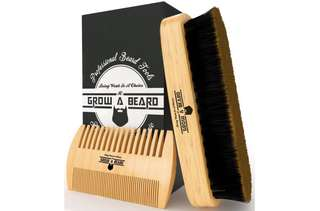 [IN-STOCK] Grow A Beard Beard Brush & Comb Set for Men Care - Gift Box & Friendly Bag - Best Bamboo Grooming Kit for Home & Travel - Great for Dry or Wet Beards - Distributes Balm for Growth & Styling - Adds Shine & Softness