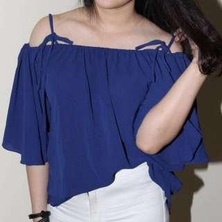 Sabrina off shoulder tali navy bangkok korea