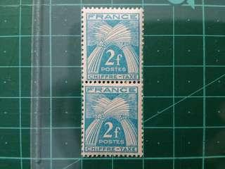 1946-53 法國 麥穗 欠資郵票 新票兩枚