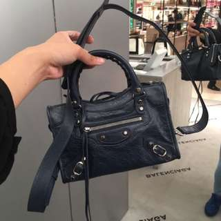 Balenciaga Bag mini city 藍色拼銀釘