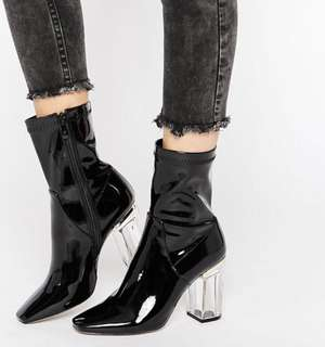 Public Desire Black Clear Heels Ankle Boots