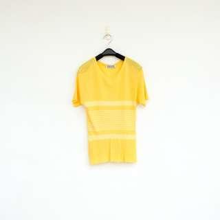 🚚 二手 黃色 印花 針織 彈性 上衣 短T 明太子 516