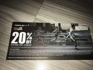 Triple Fit 20% discount voucher