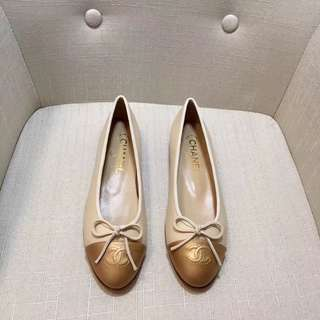 Chanel Flats (beige and golden) - fits size 37-38