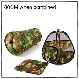 """Camo3in1"" 80cm Cat Tunnel Castle"