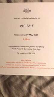 Hermes VIP Sale Invitation