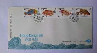 香港魚類郵票首日封