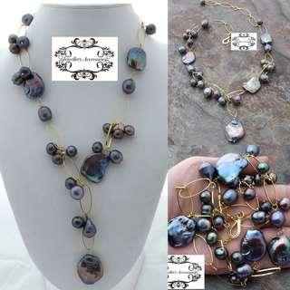 Minimalist Design Lustrous Genuine Irregular Black Keshi Pearl Necklace .簡約設計光亮不規則真Keshi黑珍珠項鍊