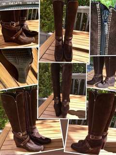 """GEOX"" LIKE NEW Dark brown suede STUNNING boots with wedge heel and stitching and straps"