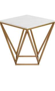 Brand New Carrara Marble Gold Square Side/ Bedside Table