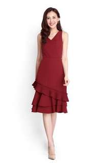 Adoring Sways Dress in Wine Red