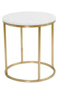 Brand New Carrara Marble Gold Round Side/ Bedside Table