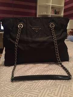 Prada Tessuto Impunto Silver Chain Shoulder Bag, Black