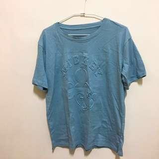 🚚 《全新》女Mickey米奇凸字T恤水藍F